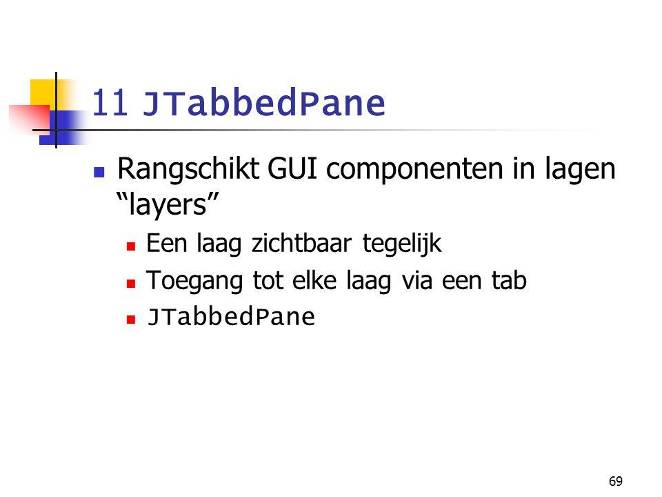"""69 11 JTabbedPane Rangschikt GUI componenten in lagen """"layers"""" Een laag zichtbaar tegelijk Toegang tot elke laag via een tab JTabbedPane"""