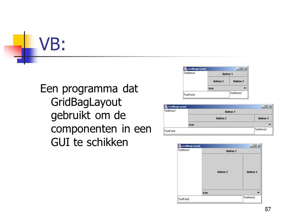 87 VB: Een programma dat GridBagLayout gebruikt om de componenten in een GUI te schikken