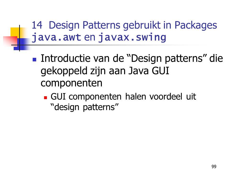 """99 14 Design Patterns gebruikt in Packages java.awt en javax.swing Introductie van de """"Design patterns"""" die gekoppeld zijn aan Java GUI componenten GU"""