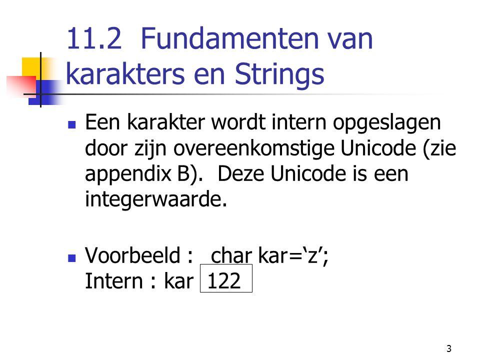 3 11.2 Fundamenten van karakters en Strings Een karakter wordt intern opgeslagen door zijn overeenkomstige Unicode (zie appendix B).