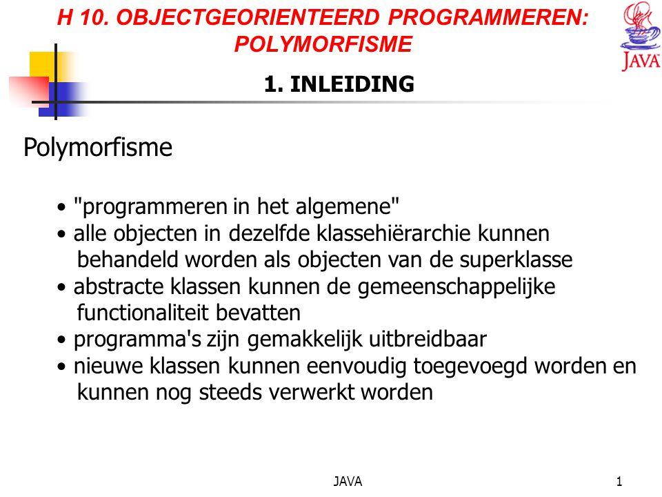 JAVA1 H 10. OBJECTGEORIENTEERD PROGRAMMEREN: POLYMORFISME 1. INLEIDING Polymorfisme