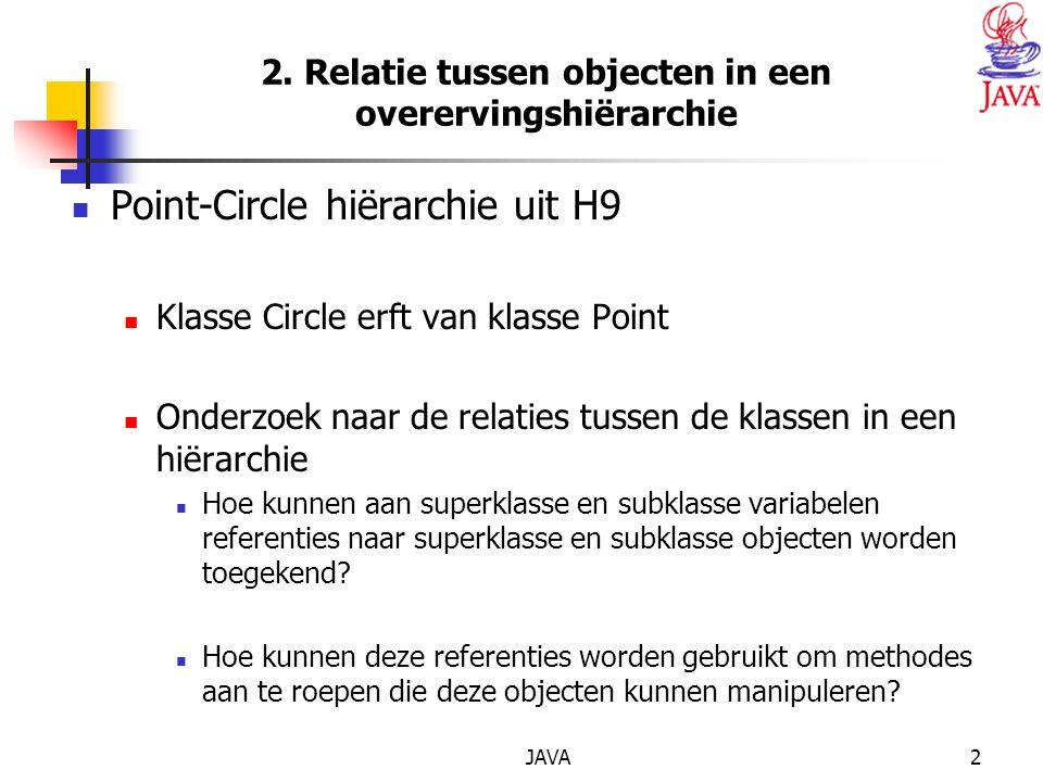 JAVA33 Boek p 470-471 : polymorfisme Point point = new Point( 7, 11 ); Circle circle = new Circle(22, 8, 3.5 ); Cylinder cylinder = new Cylinder( 20, 30, 3.3, 10.75 ); Shape arrayOfShapes[] = new Shape[ 3 ]; arrayOfShapes[ 0 ] = point; arrayOfShapes[ 1 ] = circle; arrayOfShapes[ 2 ] = cylinder; for ( int i = 0; i < arrayOfShapes.length; i++ ) { output += \n\n + arrayOfShapes[ i ].getName() + : + arrayOfShapes[i].toString() + \nArea = + twoDigits.format( arrayOfShapes[ i ].getArea() ) + \nVolume = + twoDigits.format( arrayOfShapes[ i ].getVolume() ); }