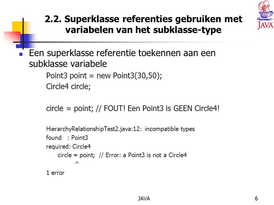 JAVA47 interface Voertuig { public void setSnelheid(int s); public int getSnelheid(); public void setPersonen(int p); public int getPersonen(); public void setBrandstof(char b); public char getBrandstof(); public void setVerplaatsingswijze(char v); public char getVerplaatsingswijze(); }