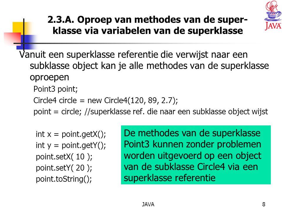 JAVA8 2.3.A. Oproep van methodes van de super- klasse via variabelen van de superklasse Vanuit een superklasse referentie die verwijst naar een subkla