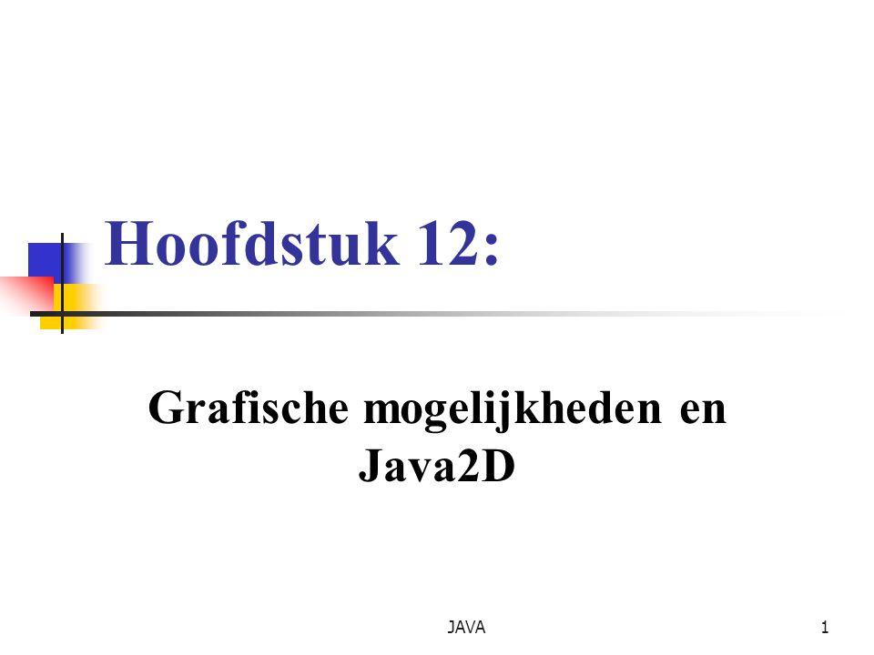 JAVA2 Gebruikte klassen en interfaces Classes and interfaces from the Java2D API that appear in package java.awt Object Color Component Font FontMetrics Graphics Polygon Graphics2D interface java.awt.Paint interface java.awt.Shape interface java.awt.Stroke Classes from the Java2D API that appear in package java.awt.geom GradientPaint BasicStroke TexturePaint RectangularShape GeneralPath Line2D RoundRectangle2D Arc2D Ellipse2D Rectangle2D
