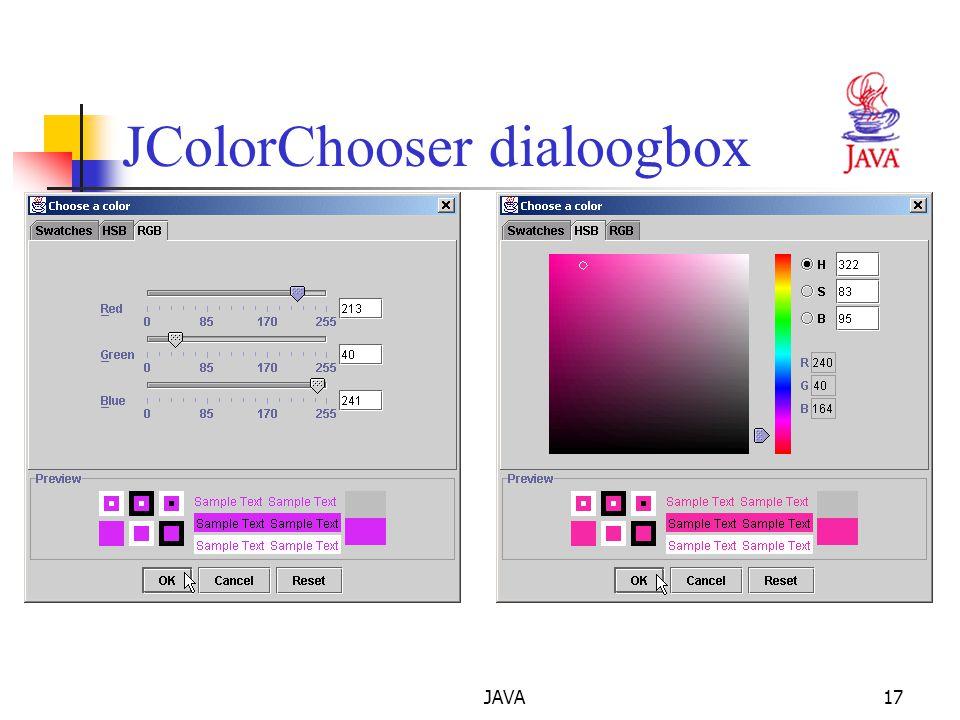 JAVA17 JColorChooser dialoogbox