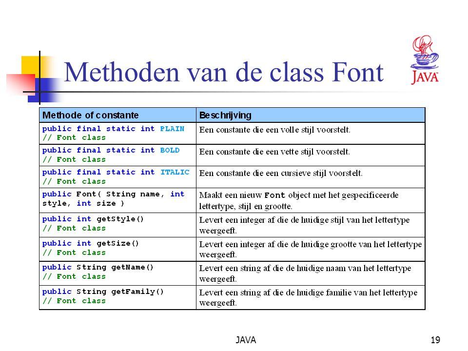 JAVA19 Methoden van de class Font