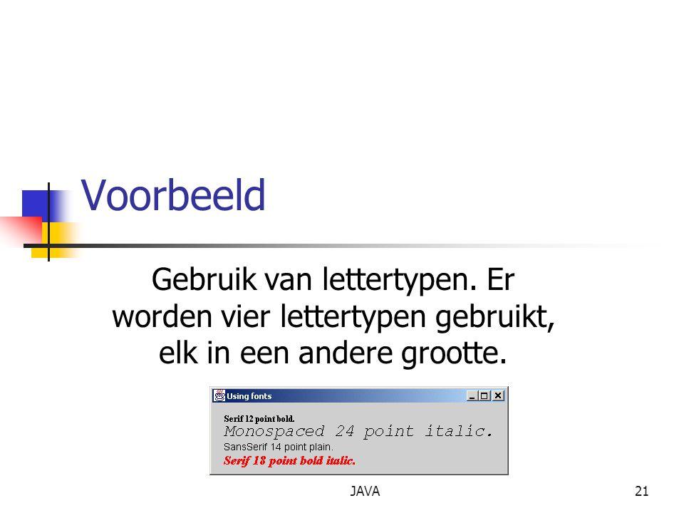 JAVA21 Voorbeeld Gebruik van lettertypen.