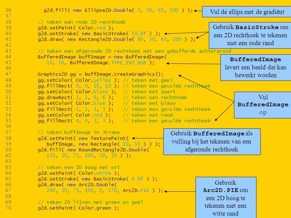 36 g2d.fill( new Ellipse2D.Double( 5, 30, 65, 100 ) ); 37 38 // teken een rode 2D rechthoek 39 g2d.setPaint( Color.red ); 40 g2d.setStroke( new BasicStroke( 10.0f ) ); 41 g2d.draw( new Rectangle2D.Double( 80, 30, 65, 100 ) ); 42 43 // teken een afgeronde 2D rechthoek met een gebufferde achtergrond 44 BufferedImage buffImage = new BufferedImage( 45 10, 10, BufferedImage.TYPE_INT_RGB ); 46 47 Graphics2D gg = buffImage.createGraphics(); 48 gg.setColor( Color.yellow ); // teken met geel 49 gg.fillRect( 0, 0, 10, 10 ); // teken een gevulde rechthoek 50 gg.setColor( Color.black ); // teken met zwart 51 gg.drawRect( 1, 1, 6, 6 ); // teken een rechthoek 52 gg.setColor( Color.blue ); // teken met blauw 53 gg.fillRect( 1, 1, 3, 3 ); // teken een gevulde rechthoek 54 gg.setColor( Color.red ); // teken met rood 55 gg.fillRect( 4, 4, 3, 3 ); // teken een gevulde rechthoek 56 57 // teken buffImage in JFrame 58 g2d.setPaint( new TexturePaint( 59 buffImage, new Rectangle( 10, 10 ) ) ); 60 g2d.fill( new RoundRectangle2D.Double( 61 155, 30, 75, 100, 50, 50 ) ); 62 63 // teken een 2D boog met wit 64 g2d.setPaint( Color.white ); 65 g2d.setStroke( new BasicStroke( 6.0f ) ); 66 g2d.draw( new Arc2D.Double( 67 240, 30, 75, 100, 0, 270, Arc2D.PIE ) ); 68 69 // teken 2D lijnen met groen en geel 70 g2d.setPaint( Color.green ); Vul de ellips met de gradiënt Gebruik BasicStroke om een 2D rechthoek te tekenen met een rode rand BufferedImage levert een beeld dat kan bewerkt worden Vul BufferedImage op Gebruik BufferedImage als vulling bij het tekenen van een afgeronde rechthoek Gebruik Arc2D.PIE om een 2D boog te tekenen met een witte rand