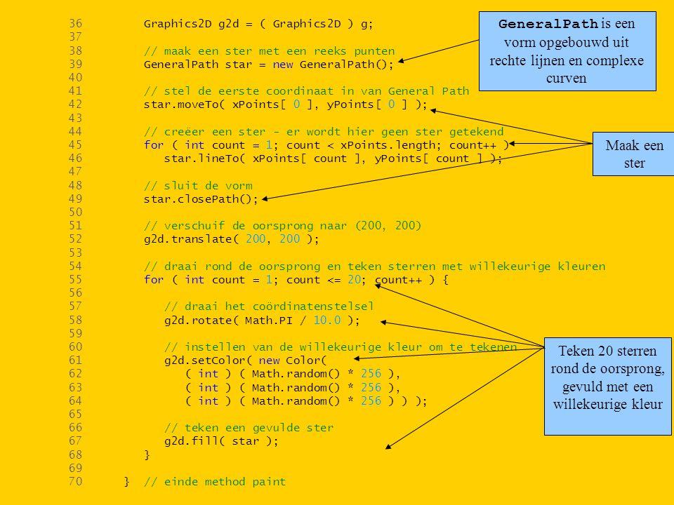 36 Graphics2D g2d = ( Graphics2D ) g; 37 38 // maak een ster met een reeks punten 39 GeneralPath star = new GeneralPath(); 40 41 // stel de eerste coordinaat in van General Path 42 star.moveTo( xPoints[ 0 ], yPoints[ 0 ] ); 43 44 // creëer een ster - er wordt hier geen ster getekend 45 for ( int count = 1; count < xPoints.length; count++ ) 46 star.lineTo( xPoints[ count ], yPoints[ count ] ); 47 48 // sluit de vorm 49 star.closePath(); 50 51 // verschuif de oorsprong naar (200, 200) 52 g2d.translate( 200, 200 ); 53 54 // draai rond de oorsprong en teken sterren met willekeurige kleuren 55 for ( int count = 1; count <= 20; count++ ) { 56 57 // draai het coördinatenstelsel 58 g2d.rotate( Math.PI / 10.0 ); 59 60 // instellen van de willekeurige kleur om te tekenen 61 g2d.setColor( new Color( 62 ( int ) ( Math.random() * 256 ), 63 ( int ) ( Math.random() * 256 ), 64 ( int ) ( Math.random() * 256 ) ) ); 65 66 // teken een gevulde ster 67 g2d.fill( star ); 68 } 69 70 } // einde method paint GeneralPath is een vorm opgebouwd uit rechte lijnen en complexe curven Maak een ster Teken 20 sterren rond de oorsprong, gevuld met een willekeurige kleur