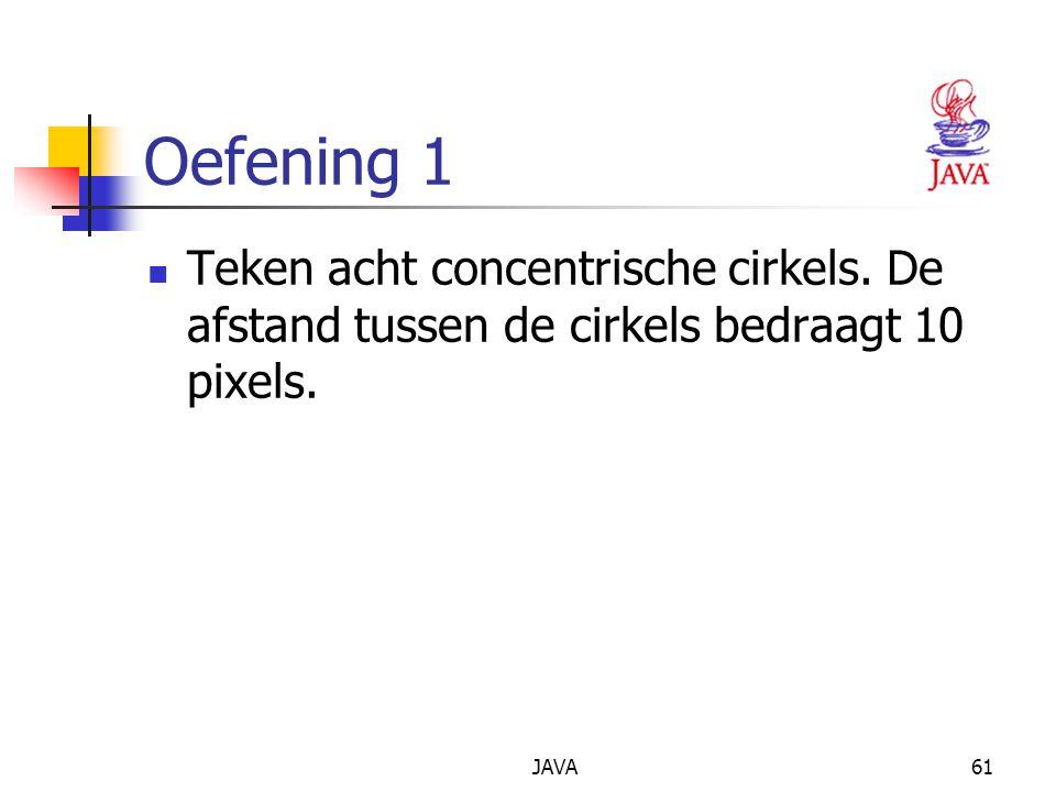 JAVA61 Oefening 1 Teken acht concentrische cirkels.