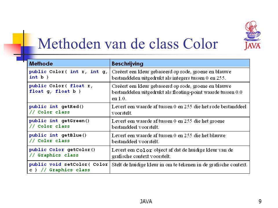 JAVA9 Methoden van de class Color