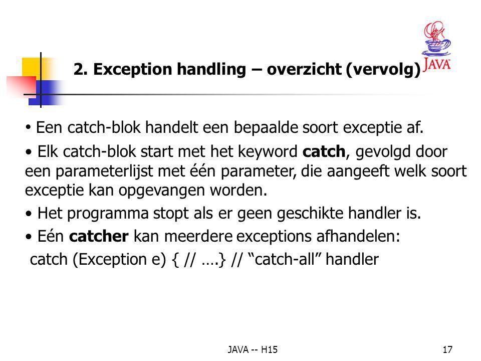 JAVA -- H1516 Het throw statement (expliciet of impliciet) – duidt aan dat er een exception is voorgekomen – de operand kan van elke klasse zijn die a