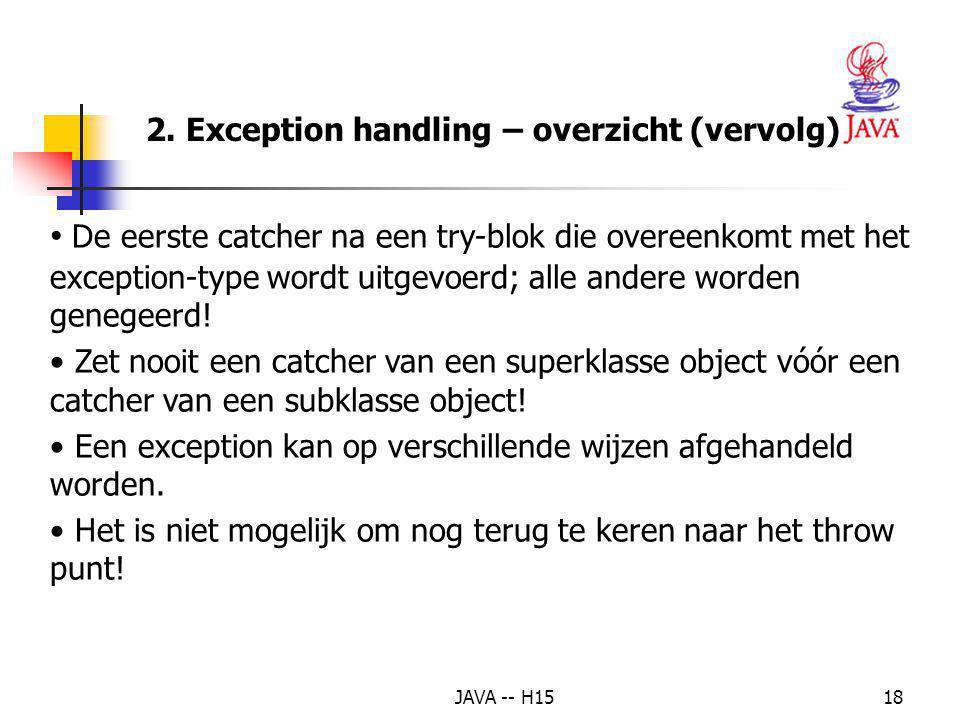 JAVA -- H1517 Een catch-blok handelt een bepaalde soort exceptie af. Elk catch-blok start met het keyword catch, gevolgd door een parameterlijst met é
