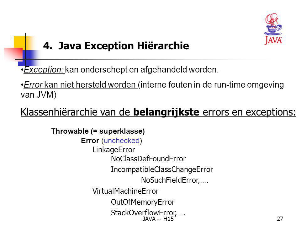 "JAVA -- H1526 8. Voorbeeld : de exceptie ""delen door 0"" afhandelen (2) 81 // execute application 82 public static void main( String args[] ) 83 { 84 D"