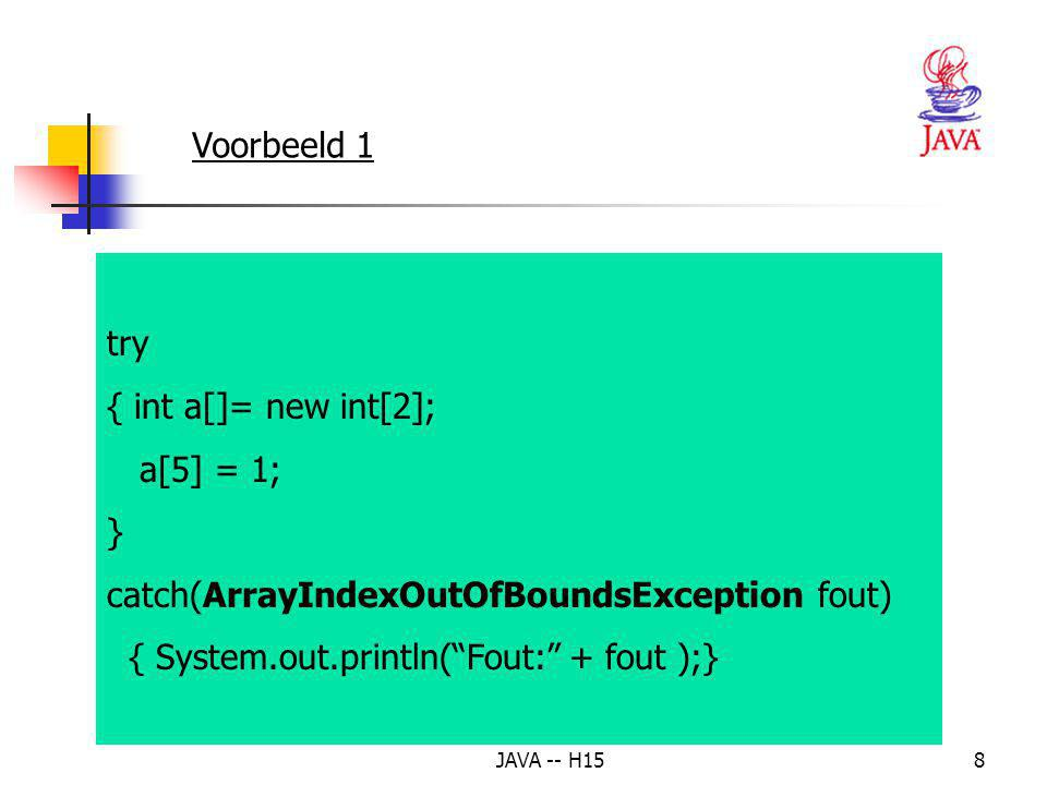 7 2. Exception handling – overzicht (vervolg) Het try-catch-finally statement: try { // code dat mag falen } catch (Exception e) { // afhandelen Excep