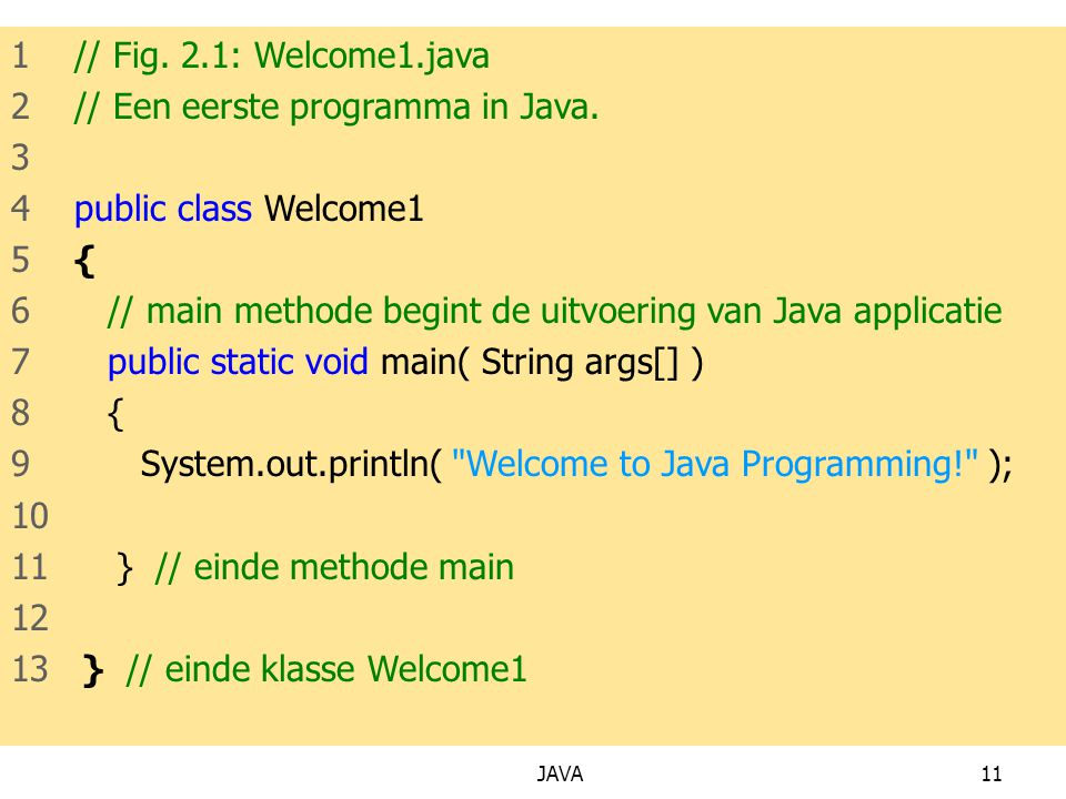 JAVA11 1 // Fig.2.1: Welcome1.java 2 // Een eerste programma in Java.