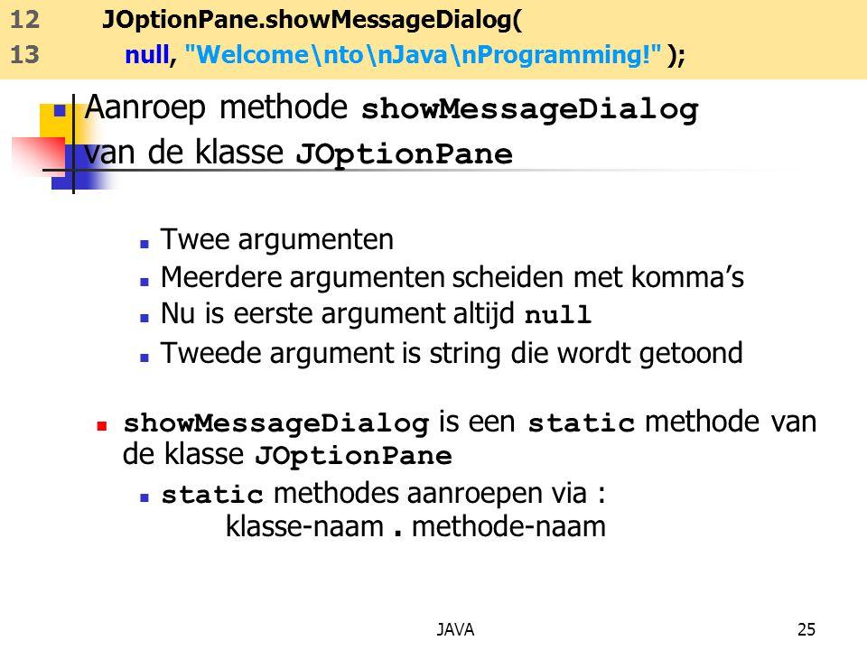 JAVA25 Aanroep methode showMessageDialog van de klasse JOptionPane Twee argumenten Meerdere argumenten scheiden met komma's Nu is eerste argument alti