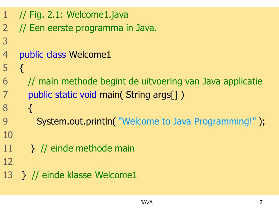 JAVA7 1 // Fig.2.1: Welcome1.java 2 // Een eerste programma in Java.