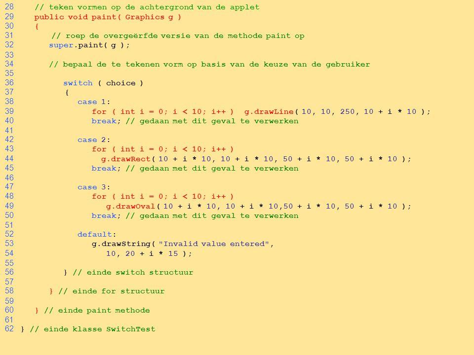 32 28 // teken vormen op de achtergrond van de applet 29 public void paint( Graphics g ) 30 { 31 // roep de overgeërfde versie van de methode paint op 32 super.paint( g ); 33 34 // bepaal de te tekenen vorm op basis van de keuze van de gebruiker 35 36 switch ( choice ) 37 { 38 case 1: 39 for ( int i = 0; i < 10; i++ ) g.drawLine( 10, 10, 250, 10 + i * 10 ); 40 break; // gedaan met dit geval te verwerken 41 42 case 2: 43 for ( int i = 0; i < 10; i++ ) 44 g.drawRect( 10 + i * 10, 10 + i * 10, 50 + i * 10, 50 + i * 10 ); 45 break; // gedaan met dit geval te verwerken 46 47 case 3: 48 for ( int i = 0; i < 10; i++ ) 49 g.drawOval( 10 + i * 10, 10 + i * 10,50 + i * 10, 50 + i * 10 ); 50 break; // gedaan met dit geval te verwerken 51 52 default: 53 g.drawString( Invalid value entered , 54 10, 20 + i * 15 ); 55 56 } // einde switch structuur 57 58 } // einde for structuur 59 60 } // einde paint methode 61 62 } // einde klasse SwitchTest