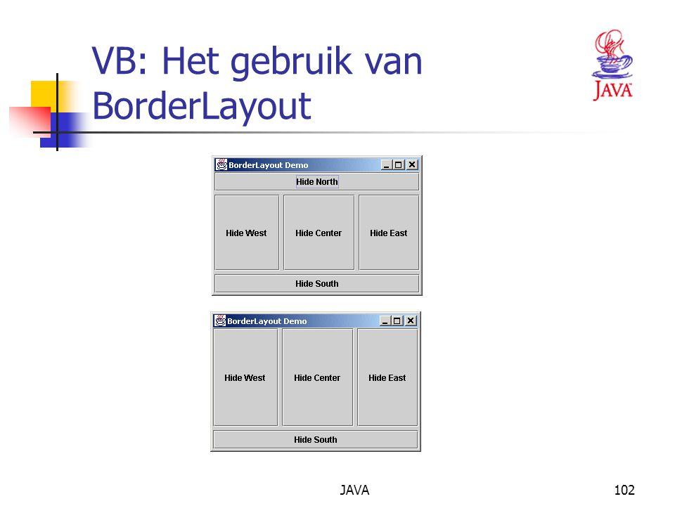 JAVA102 VB: Het gebruik van BorderLayout