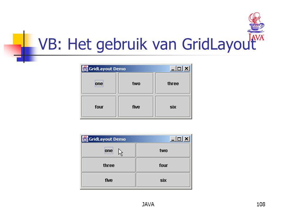 JAVA108 VB: Het gebruik van GridLayout