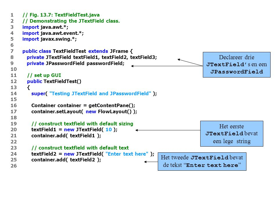 1 // Fig. 13.7: TextFieldTest.java 2 // Demonstrating the JTextField class.