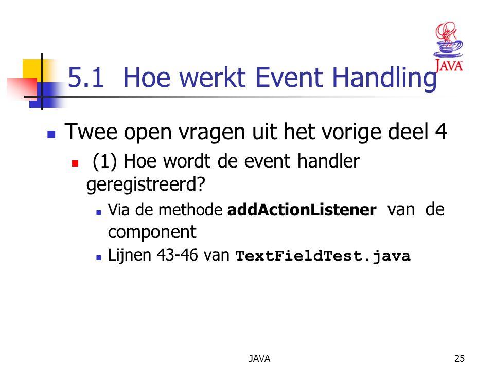 JAVA25 5.1 Hoe werkt Event Handling Twee open vragen uit het vorige deel 4 (1) Hoe wordt de event handler geregistreerd.