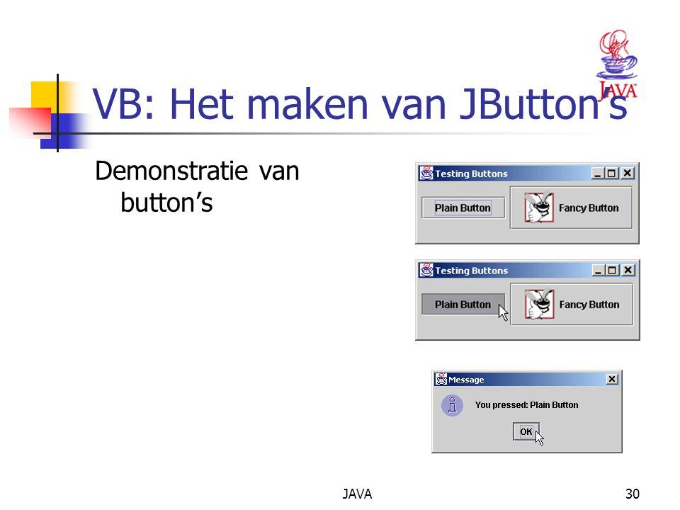 JAVA30 VB: Het maken van JButton's Demonstratie van button's