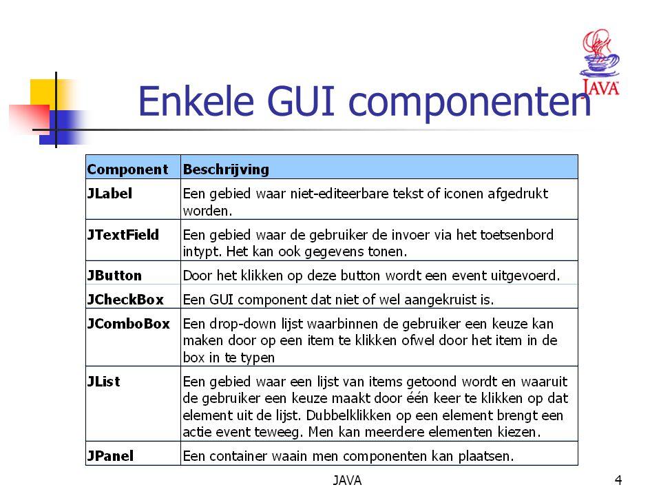 JAVA4 Enkele GUI componenten