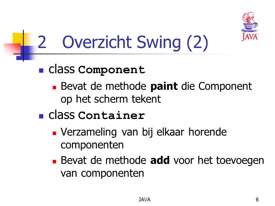 JAVA6 2 Overzicht Swing (2) class Component Bevat de methode paint die Component op het scherm tekent class Container Verzameling van bij elkaar horende componenten Bevat de methode add voor het toevoegen van componenten