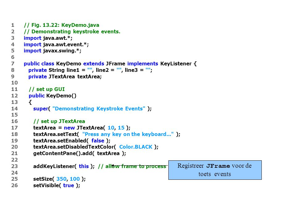 1 // Fig. 13.22: KeyDemo.java 2 // Demonstrating keystroke events.