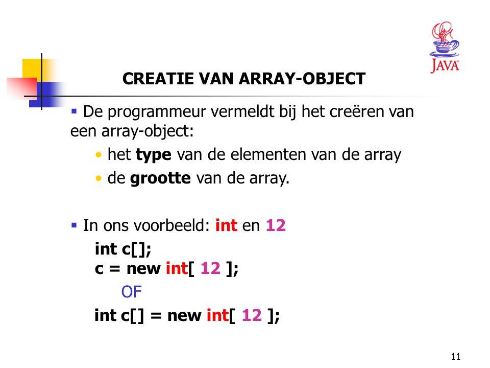 11 CREATIE VAN ARRAY-OBJECT  De programmeur vermeldt bij het creëren van een array-object: het type van de elementen van de array de grootte van de array.