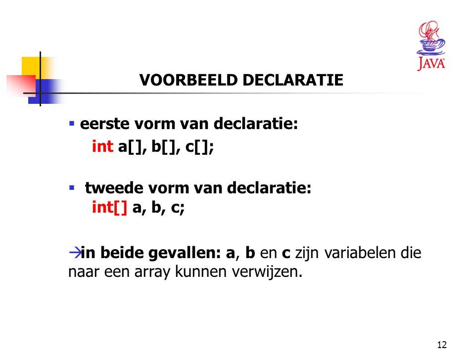 12 VOORBEELD DECLARATIE  eerste vorm van declaratie: int a[], b[], c[];  tweede vorm van declaratie: int[] a, b, c;  in beide gevallen: a, b en c zijn variabelen die naar een array kunnen verwijzen.