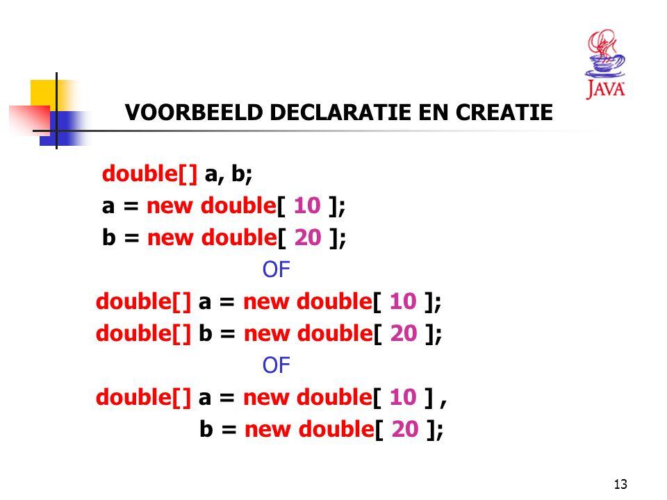 13 VOORBEELD DECLARATIE EN CREATIE double[] a, b; a = new double[ 10 ]; b = new double[ 20 ]; OF double[] a = new double[ 10 ]; double[] b = new double[ 20 ]; OF double[] a = new double[ 10 ], b = new double[ 20 ];