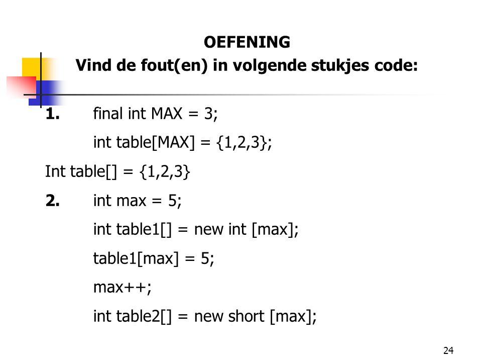 24 OEFENING Vind de fout(en) in volgende stukjes code: 1.final int MAX = 3; int table[MAX] = {1,2,3}; Int table[] = {1,2,3} 2.int max = 5; int table1[] = new int [max]; table1[max] = 5; max++; int table2[] = new short [max];