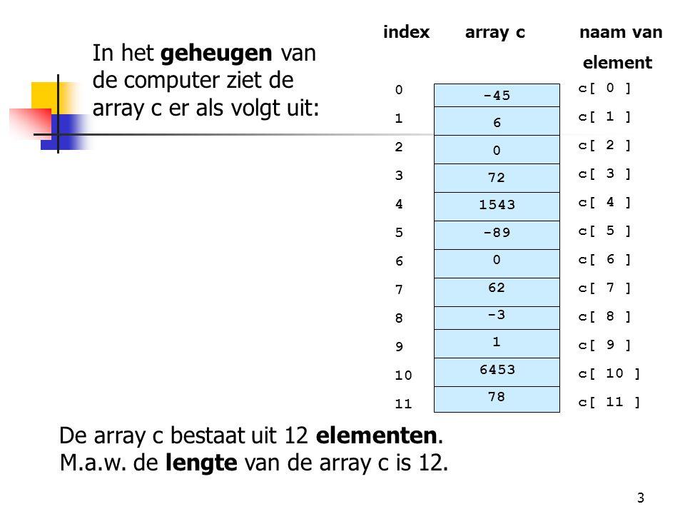 94 71 // het beste examen zoeken 72 public int maximum( int grades[][] ) 73 { 74 // initialisatie: eerste element is het beste examen 75 int highGrade = grades[ 0 ][ 0 ]; 76 77 // de rijen van de array doorlopen 78 for ( int row = 0; row < students; row++ ) 79 80 // de kolommen per rij doorlopen 81 for ( int column = 0; column < exams; column++ ) 82 // Controleren als huidige punt van examen 83 // groter is dan highGrade .