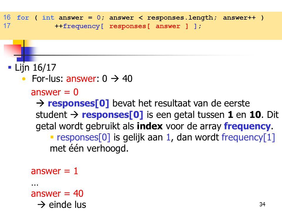34  Lijn 16/17 For-lus: answer: 0  40 answer = 0  responses[0] bevat het resultaat van de eerste student  responses[0] is een getal tussen 1 en 10.