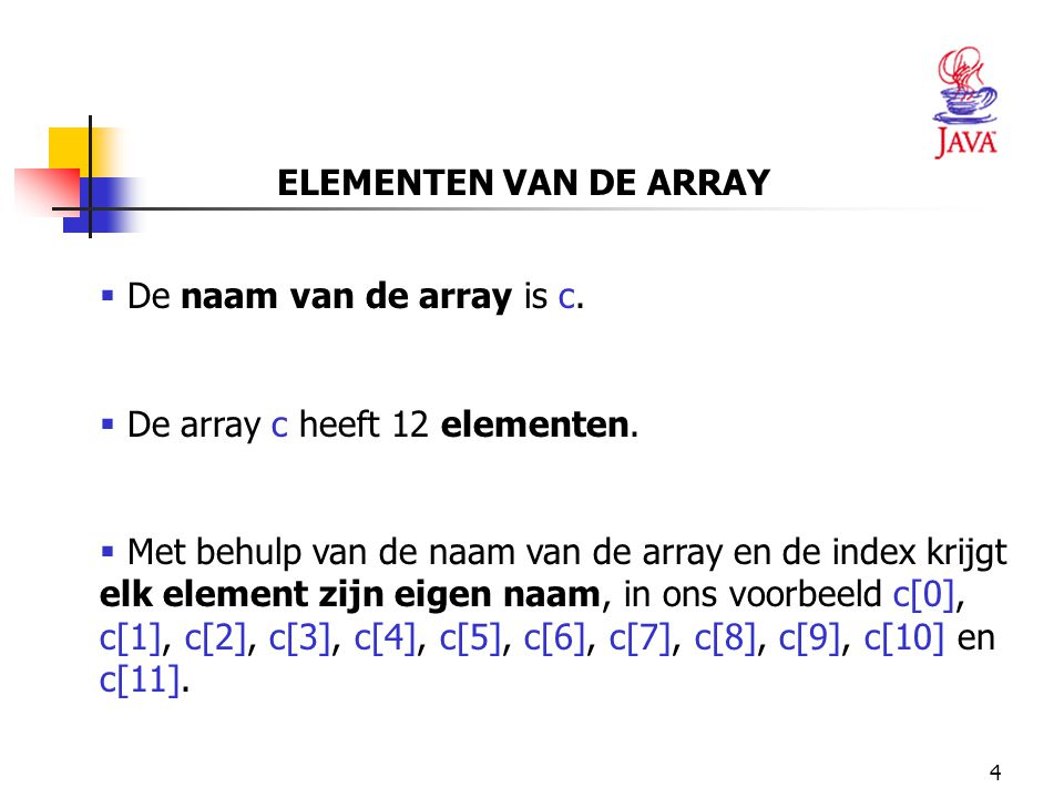15 REFERENTIES int c[]; c = new int[ 12 ]; OF int c[] = new int[ 12 ];  c is een variabele dat naar een array-object verwijst.