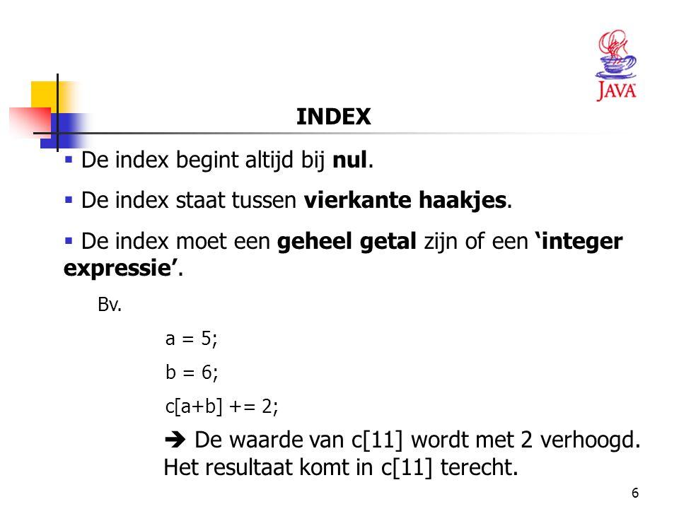 17 1 // Fig.7.3: InitArray.java 2 // Een array initïaliseren.