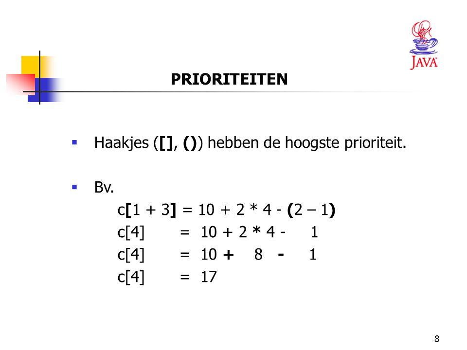 8 PRIORITEITEN  Haakjes ([], ()) hebben de hoogste prioriteit.