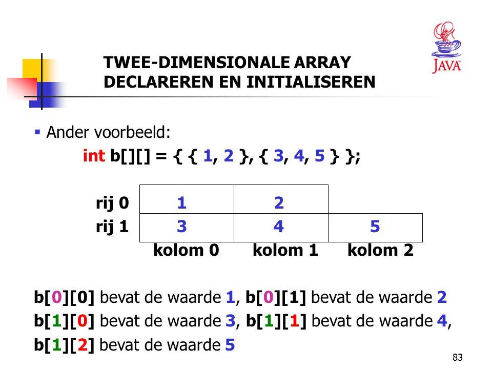 83  Ander voorbeeld: int b[][] = { { 1, 2 }, { 3, 4, 5 } }; rij 0 1 2 rij 1 3 4 5 kolom 0 kolom 1 kolom 2 b[0][0] bevat de waarde 1, b[0][1] bevat de waarde 2 b[1][0] bevat de waarde 3, b[1][1] bevat de waarde 4, b[1][2] bevat de waarde 5 TWEE-DIMENSIONALE ARRAY DECLAREREN EN INITIALISEREN