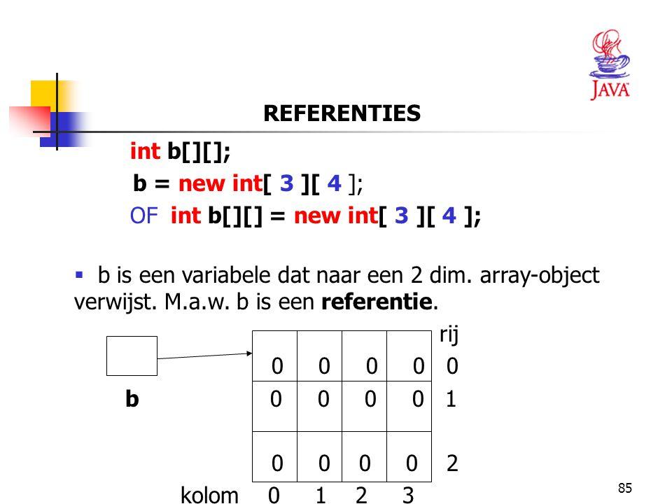 85 REFERENTIES int b[][]; b = new int[ 3 ][ 4 ]; OF int b[][] = new int[ 3 ][ 4 ];  b is een variabele dat naar een 2 dim.