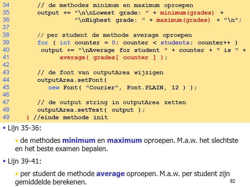 92 34 // de methodes minimum en maximum oproepen 35 output += \n\nLowest grade: + minimum(grades) + 36 \nHighest grade: + maximum(grades) + \n ; 37 38 // per student de methode average oproepen 39 for ( int counter = 0; counter < students; counter++ ) 40 output += \nAverage for student + counter + is + 41 average( grades[ counter ] ); 42 43 // de font van outputArea wijzigen 44 outputArea.setFont( 45 new Font( Courier , Font.PLAIN, 12 ) ); 46 47 // de output string in outputArea zetten 48 outputArea.setText( output ); 49 } //einde methode init  Lijn 35-36: de methodes minimum en maximum oproepen.