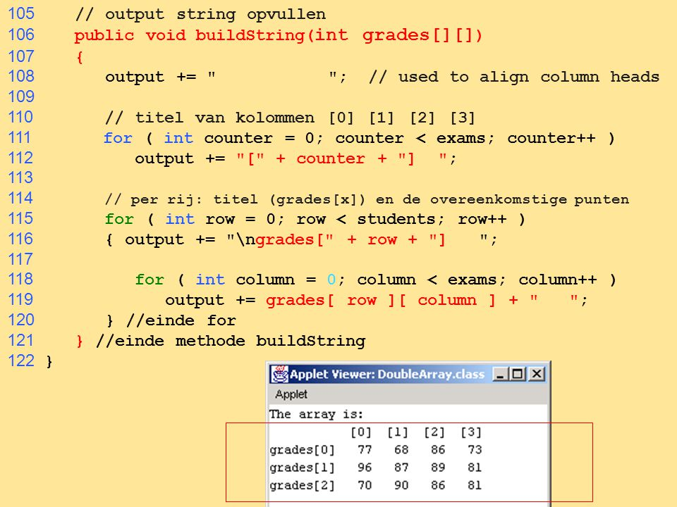 96 105 // output string opvullen 106 public void buildString( int grades[][] ) 107 { 108 output += ; // used to align column heads 109 110 // titel van kolommen [0] [1] [2] [3] 111 for ( int counter = 0; counter < exams; counter++ ) 112 output += [ + counter + ] ; 113 114 // per rij: titel (grades[x]) en de overeenkomstige punten 115 for ( int row = 0; row < students; row++ ) 116 { output += \ngrades[ + row + ] ; 117 118 for ( int column = 0; column < exams; column++ ) 119 output += grades[ row ][ column ] + ; 120 } //einde for 121 } //einde methode buildString 122 }