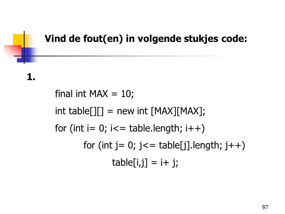 97 Vind de fout(en) in volgende stukjes code: 1.