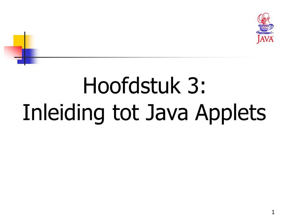 12 IMPORTEREN VAN PACKAGES  De import-statement geeft de compiler de opdracht de applet toegang te geven tot een klasse van een package Wanneer je een applet maakt, importeer de klasse JApplet (package javax.swing) importeer de klasse Graphics (package java.awt).