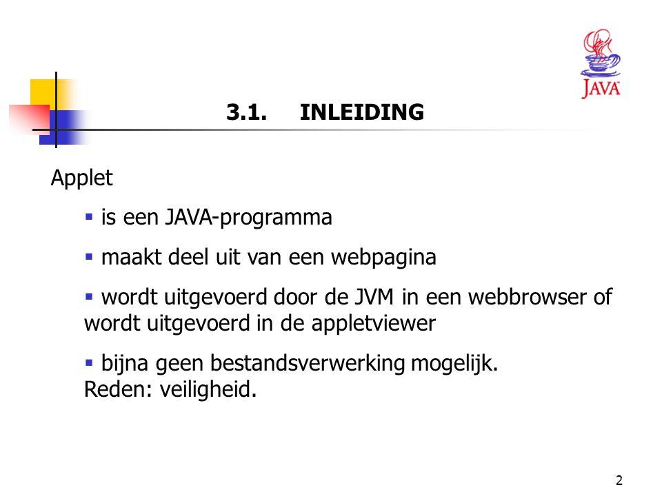 23 BODY VAN DE APPLET-KLASSE: METHODE PAINT()  Methode drawString (van klasse Graphics)  De gegevens tussen de haakjes = argumenten eerste argument: String tekenen tweede argument: x-coördinaat derde argument: y-coördinaat 14 super.paint( g ); 17 g.drawString( Welcome to Java Programming! , 10, 20 );  Methode paint van de superklasse JApplet wordt opgeroepen.
