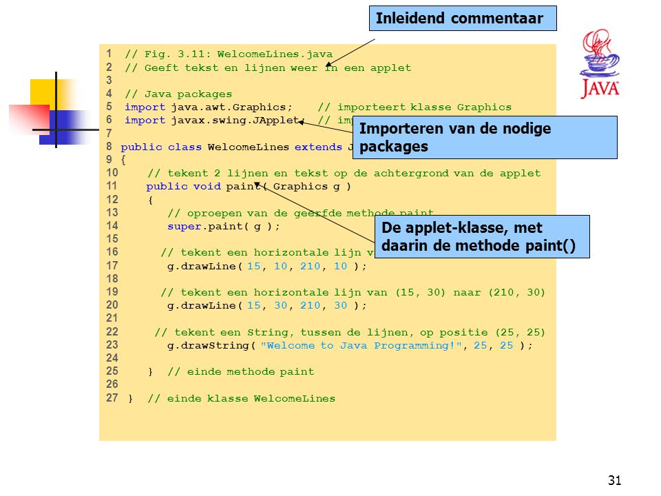 31 HET JAVA PLATFORM 1 // Fig. 3.11: WelcomeLines.java 2 // Geeft tekst en lijnen weer in een applet 3 4 // Java packages 5 import java.awt.Graphics;