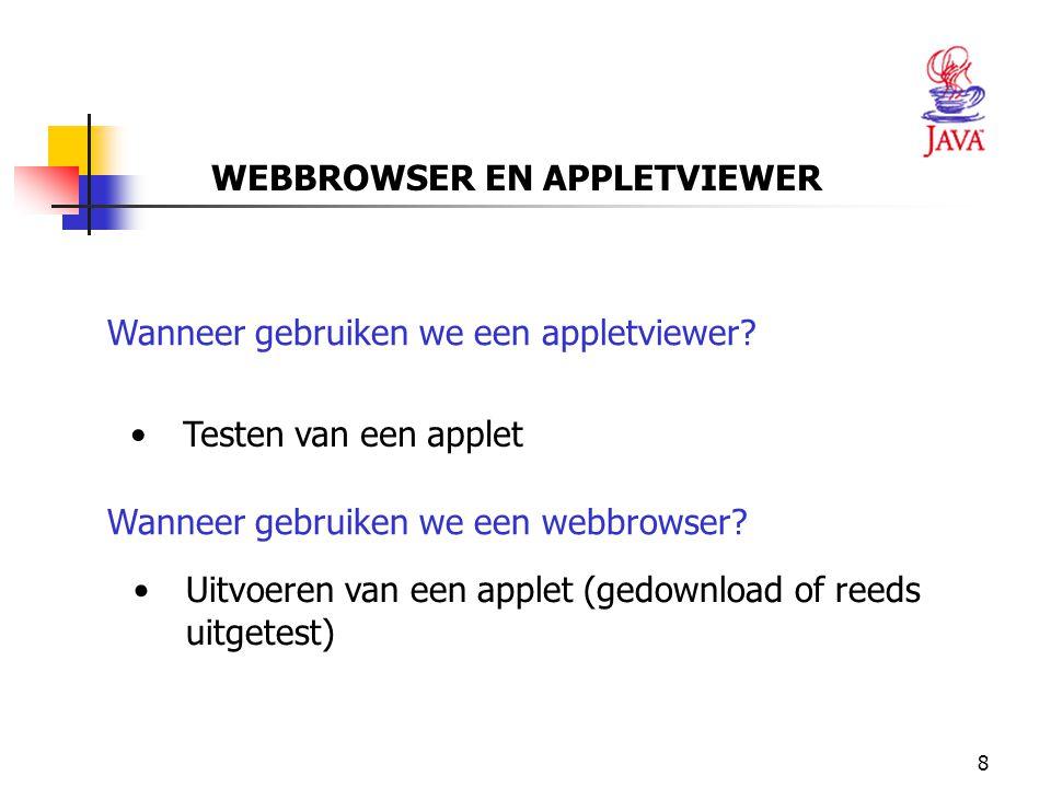 9 We zullen zelf een applet creëren  We willen dat de tekst Welcome to JAVA Programming .